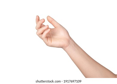 Woman hand gesture isolated on white background.