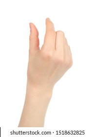 Woman hand with gesture like on smart phone screen, on white background