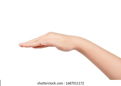 Woman hand gesturing something isolated on white background.