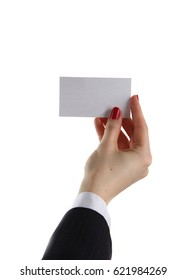 Woman hand giving business card in office.