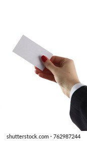Woman hand giving business card in office
