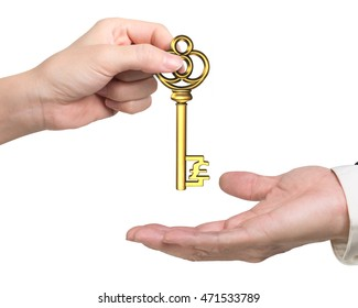 Woman hand giving golden treasure key in pound sign shape to man hand, isolated on white background.