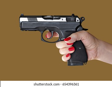 woman with hand gun pistol rubber attack violence photomanipulation