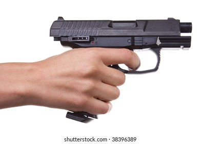 Woman hand with handgun