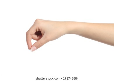 Woman hand hanging something blank isolated on a white background
