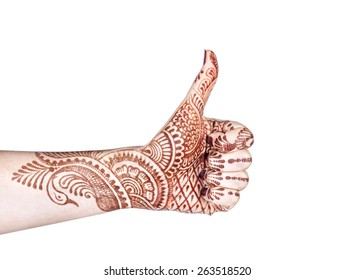 Woman hand with henna doing Merudanda mudra isolated on white background with clipping