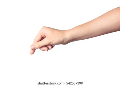 Woman hand hold card, credit, blank paper or other isolated on white background.