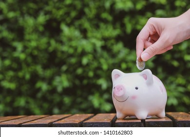 Woman hand hold a coin save in the white piggy bank. Saving money for future concept.