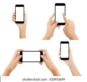 woman hand hold phone blank screen isolated on white background, mock-up modern smartphone