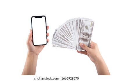 woman hand hold smartphone and money