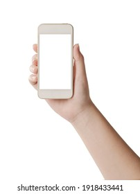 Woman hand hold smartphone with white screen isolated on white background.