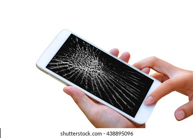 woman hand hold and touch screen smartphone or cellphone isolated on white , with crack or broken screen.