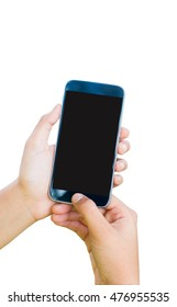 woman hand hold and touch screen smart phone,tablet,cellphone isolated on white background