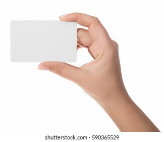 Woman hand hold virtual business card, credit card or blank paper isolated on white background.Clipping path included.Hand holding blank business card with clipping paths