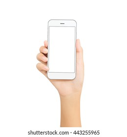 woman hand hold white phone isolated on white cutout with clipping path