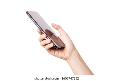 Woman hand hold(grip, touch) a smart phone isolated white.