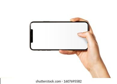 Händehaltend (Halten, Griff, Berührung) ein Handy einzeln auf Weiß.