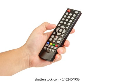 Woman hand holding audio and television remote control isolated on white background. Clipping Path.