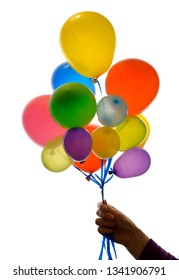 Woman hand holding balloons on white background