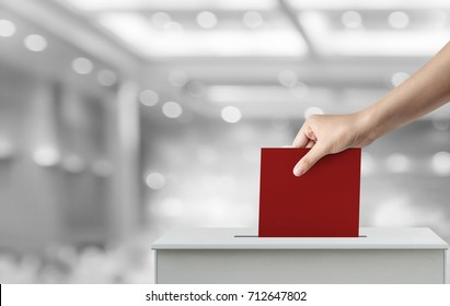 Woman hand holding ballot paper for election vote concept at hall background.