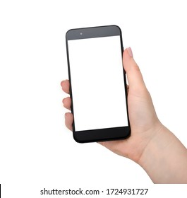 Woman hand holding black mobile phone isolated on white
