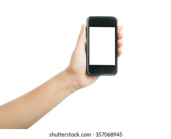 Woman hand holding black smart phone with blank screen, isolated on over white background