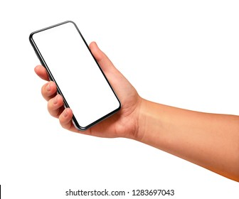 Woman hand holding the black smartphone with blank screen and modern frame less design angled position - isolated on white background
