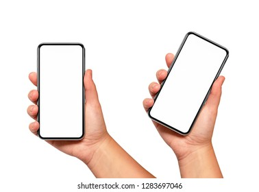 Woman hand holding the black smartphone with blank screen and modern frame less design two positions angled and vertical - isolated on white background