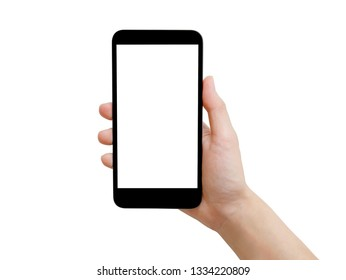Woman hand holding black smartphone with white screen isolated on white background with clipping path