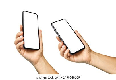 Woman hand holding the black smartphone with blank screen and modern frameless design in two rotated perspective positions  - isolated on white background