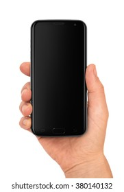 Woman hand holding the black smartphone with blank screen. Tip: screen reflections affect to the pasted image or screenshot, if you set the blending mode to SCREEN in graphic program.