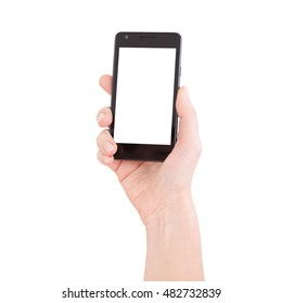 Woman hand holding the black smartphone with blank screen, isolated on white background.