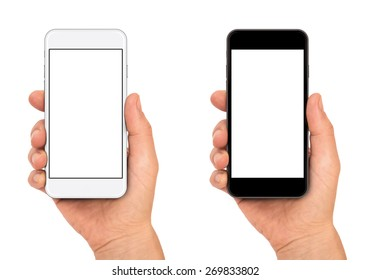 Woman hand holding the black and white smartphone.