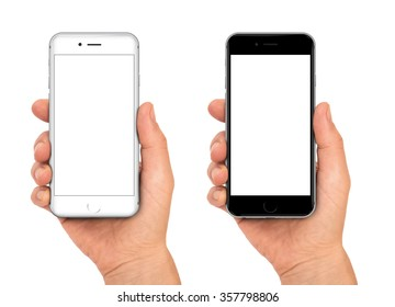 Woman hand holding the black and white smartphone with blank screen - isolaten on white background