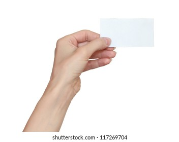 Woman hand holding blank business card isolated on white background
