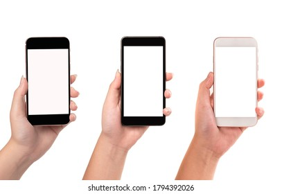 Woman hand holding different mobilephone on white background.