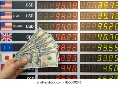 Woman hand holding Dollar banknotes on currency exchange rate , digital LED exchange rate display board