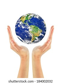 Woman hand holding the earth isolated on white background. Earth care concept. Elements of this image furnished by NASA