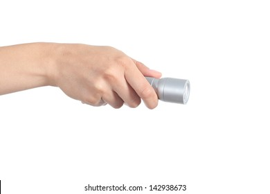 Woman hand holding an electrical torch isolated on a white background