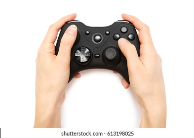 woman hand holding gamepad. Isolated on white background