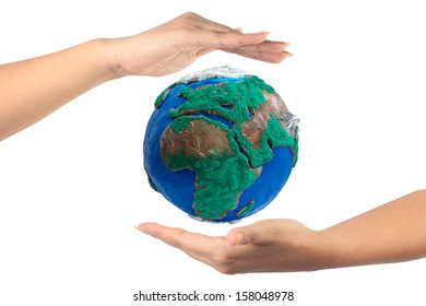 woman hand holding the globe isolate on white background with clipping path