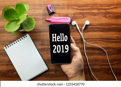 woman hand holding a hello 2019 text phone, empty notebook and white earphone, pink felt pen, succulent pot plant