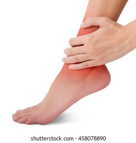 woman hand holding her beautiful healthy foot and massaging ankle in pain area with red highlighted, Isolated on white background.