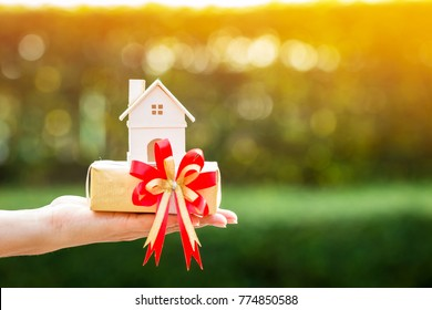 Woman hand holding a home model and gift box tied with red ribbon in the public park, for buying a new house or a real estate for family or person one loved concept.