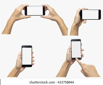Woman hand holding iphon isolated on white background. Smartphone white screen