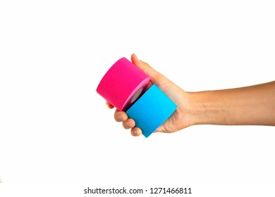 Woman hand holding kinesiotape isolated on white background