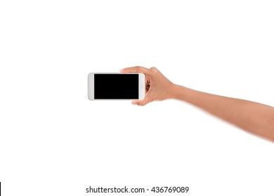 Woman Hand holding mobile smart phone with blank screen. Isolated on white background with clipping path