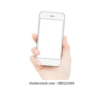 woman hand holding mockup phone similar to iphone6 isolated clipping path inside image data