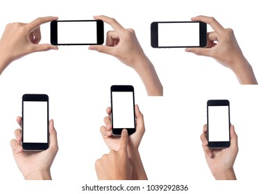 Woman hand holding modern smartphone display and touch screen mobile phone isolated on white background.