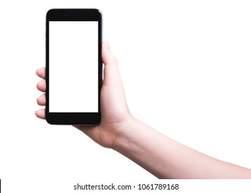woman hand holding modern smartphone mobile with blank white screen on isolated white background